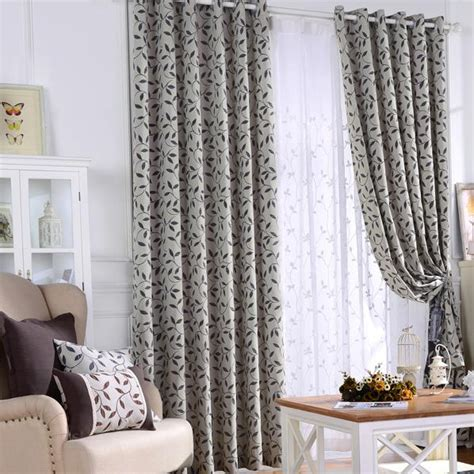 black country curtains gray and black botanical jacquard polyester country