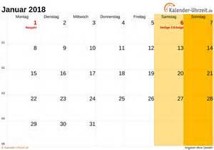 Kalender 2018 Zum Ausdrucken Monat Januar 2018 Kalender Mit Feiertagen
