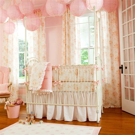 Shabby Chenille Crib Bedding Pink Floral Baby Girl Crib Chic Crib Bedding