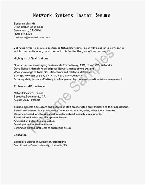 Network Systems Tester Sle Resume by Resume Sles Network Systems Tester Resume Sle