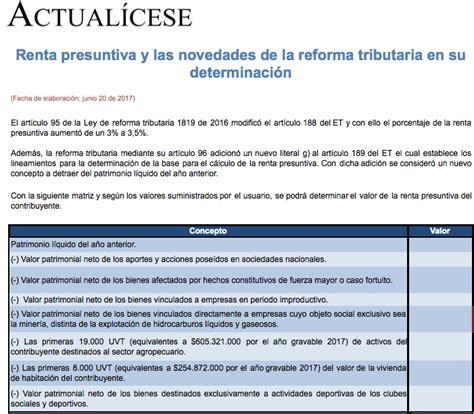 calculo de la renta presuntiva en excel 187 hojas de c 225 lculo