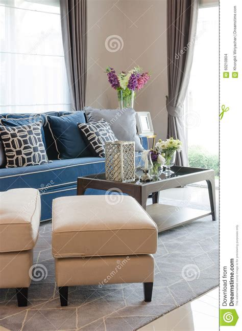 Luxury Living Room Pillows Luxury Living Room With Blue Classic Sofa And Pillows