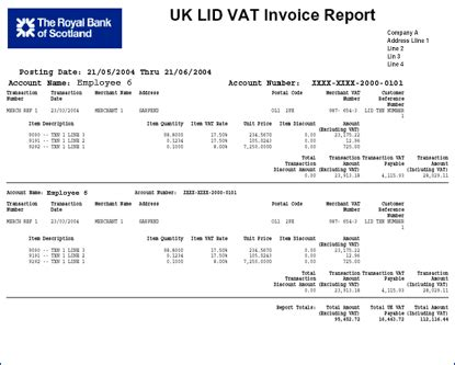 rbs standard report pdfs uk lid vat invoice
