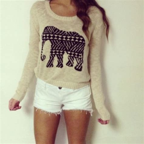 Elephant Sweater t shirt jumper shorts blouse top sweater cool