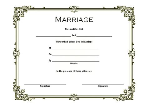 Certificate Of Marriage Template 5 Best 10 Templates California Marriage Certificate Template