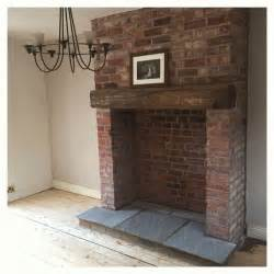 kamin gemauert exposed brick fireplace with indian hearth and