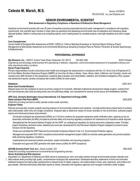Environmental Science Resume by Environmental Science Resume Sle Http Www