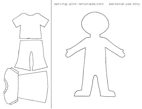 Dress A Doll Template by Serving Pink Lemonade Book Templates