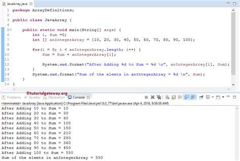 tutorial java array java array