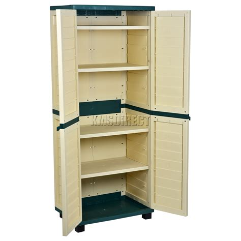Starplast Outdoor Plastic Garden Utility Cabinet With 4 Outdoor Storage Shelves