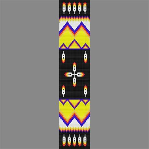 Native American Mountain Feather Bead Pattern Loom Square or