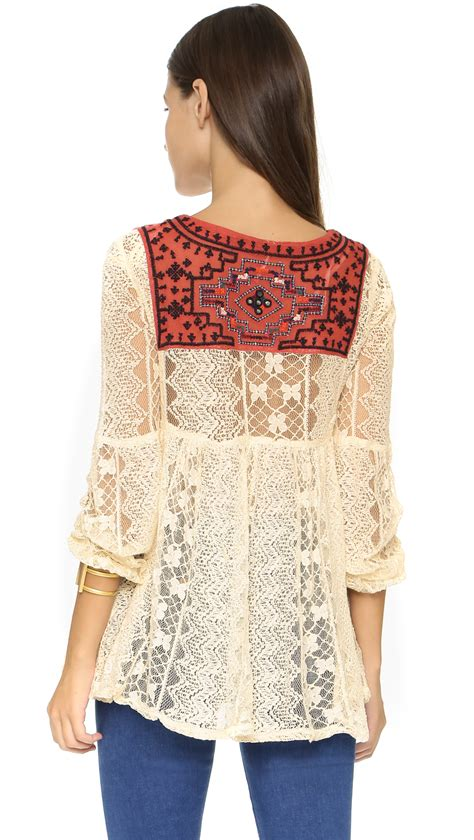Combination Tunic free lace casablanca tunic ivory combo in white lyst