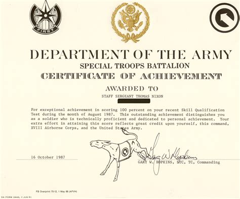 certificate of achievement template army certificate of achievement