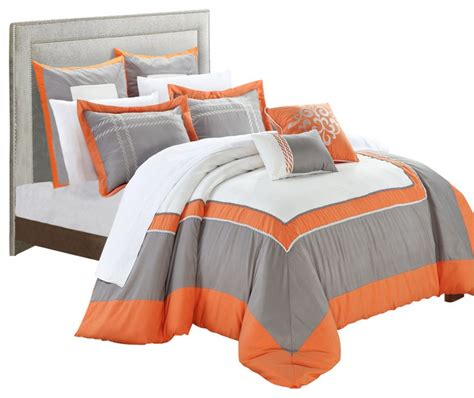 gray and orange comforter ballroom orange gray and white king 11 piece comforter