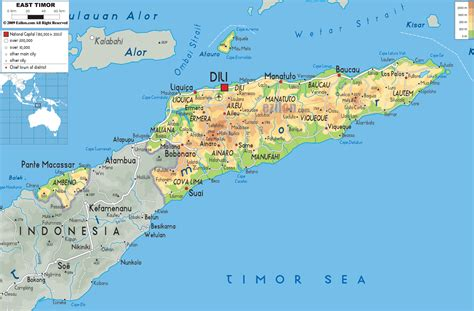 where is east timor on a map large road and physical map of east timor east timor