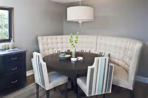 cool breakfast nook with curved banquette bench and round table benches for narrow dining room except slanted front