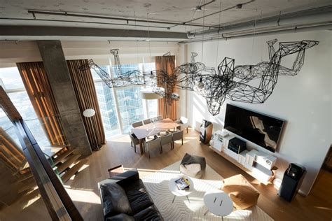 Apartment Dining Room Table by Penthouse Apartment In Moscow Looks Over The Entire City