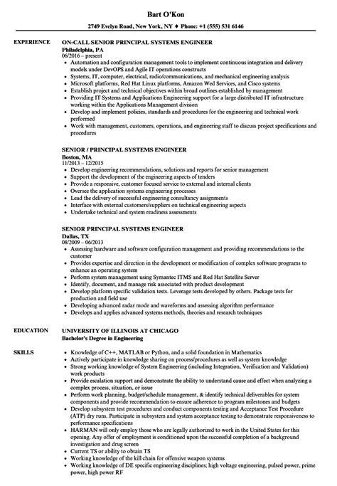 Systems Engineer Resume by Senior Principal Systems Engineer Resume Sles Velvet