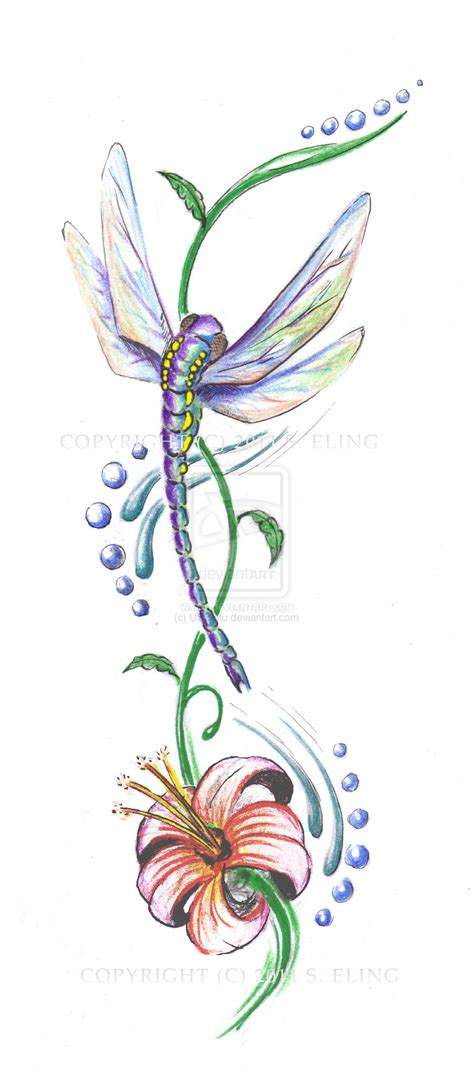 dragonfly and flower tattoo designs dragonfly wip by usbstu on deviantart