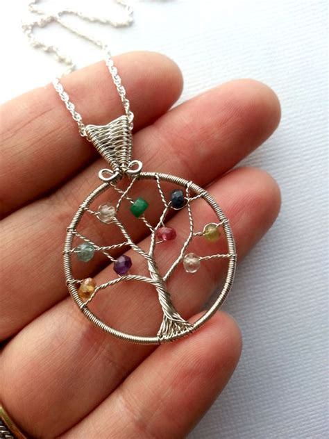 Tree Friendly Pendant Necklace by Custom Birthstone Necklace S Family Tree Necklace