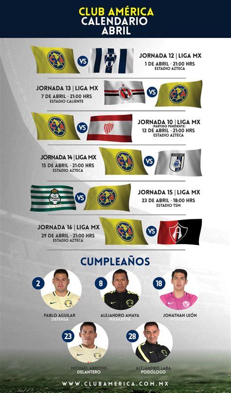Aguilas America Calendario Calendario Abril 2017 Club Am 233 Rica Sitio Oficial