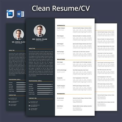 Clean Creative Resume Templates by Clean Resume Cv 2017 Resume Templates Creative Market