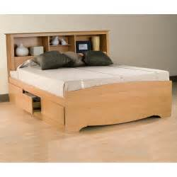 Platform Bed With Bookcase Headboard Sonoma Storage Platform Bed W Bookcase Headboard In Maple