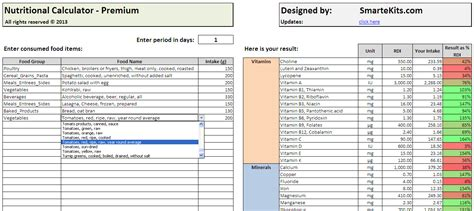 nutrition spreadsheet template nutrition calculator in excel