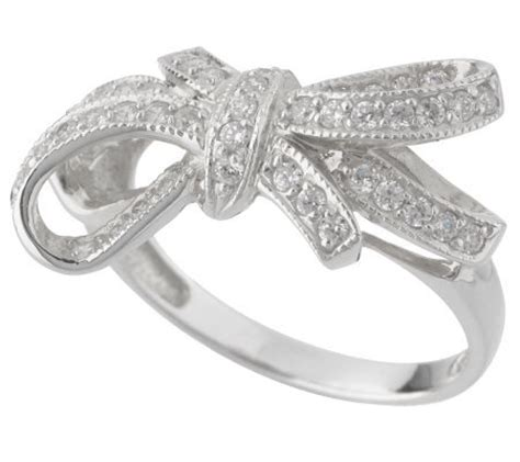 diamonique bow design ring 14k white gold qvc