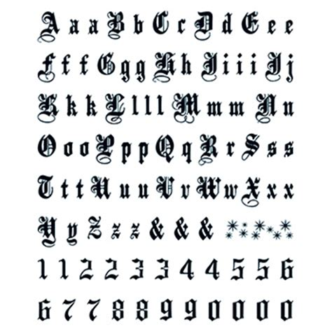 tattoo old english numbers letters numbers old english temporary tattoo usimprints