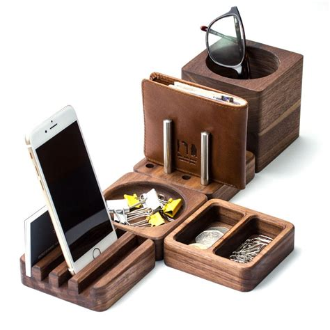 Solid Wood Desk Tidy Modular Set Desk Tidy Walnut Wood Office Desk Tidy