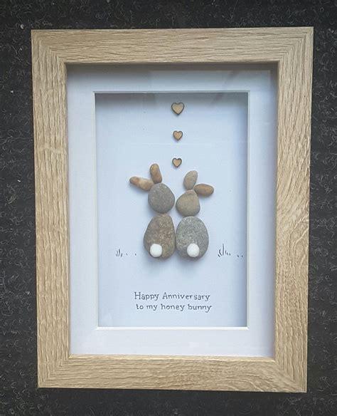 Anniversary Gift,Pebble Art Picture,bunny present