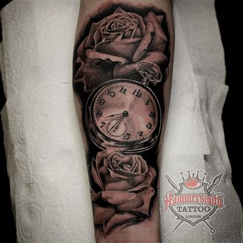 tattoo aka london archie aka noodles balck and grey clock and rose s info