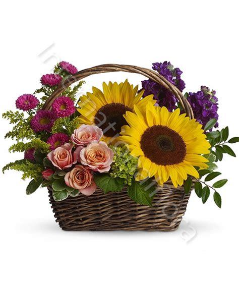 fiori consegna a domicilio consegna fiori a domicilio cesto di girasoli e rosa rosa
