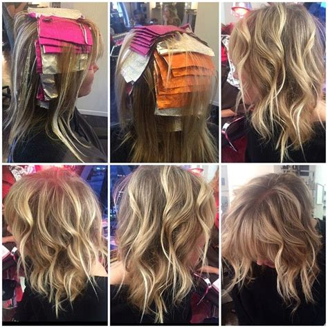 low light hair foiling placements formula 1 orange foils 20 vol 2 pink foils 40 vol 3