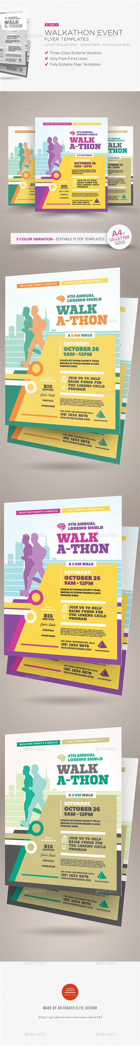 Walkathon Event Flyer Templates By Kinzi21 Graphicriver Walk A Thon Flyer Template