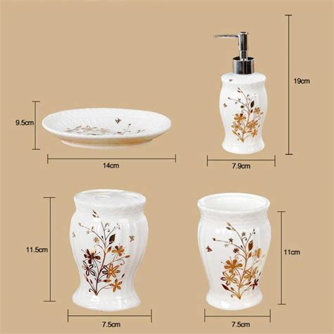 5 Floral Items To by Luxury Porcelain Flower Pattern Bathroom Accessories Set