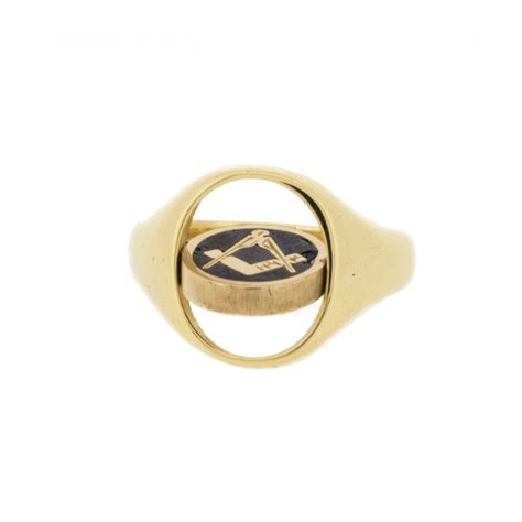 9ct gold masonic swivel ring