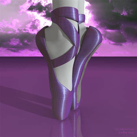 ballet toe shoes colorful lavender clouds digital