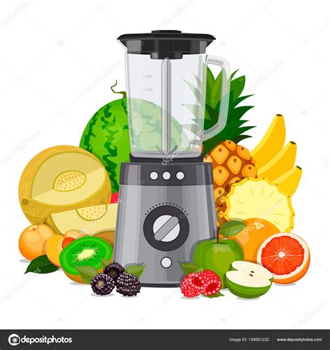 fruit blender blender mixer with fruit smoothies and juice vector