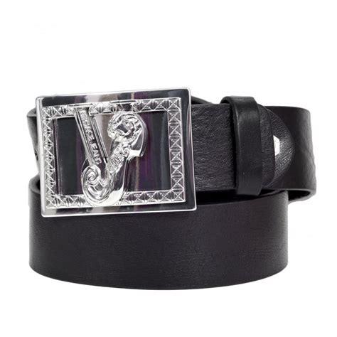 versace black leather belt with vj logo bearing buckle