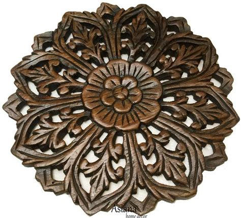 wood wall plaque floral wood carved panel home decor asiana home decor