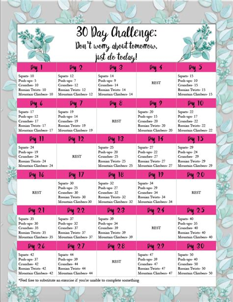30 day exercise challenge for free exercise printable 30 day challenge easy medium