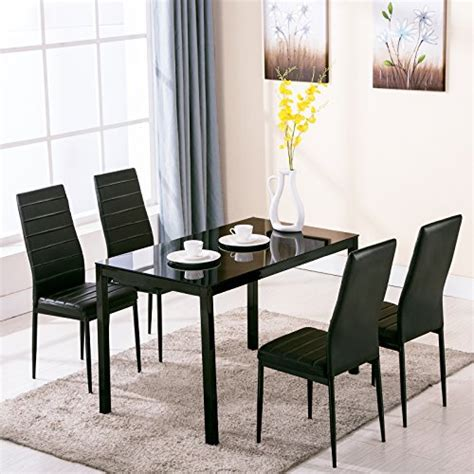 Glass Dining Table Sets 4 Dining Table And Chairs 4family 5pc Dining Table Set 4 Chairs Glass Metal Kitchen Room