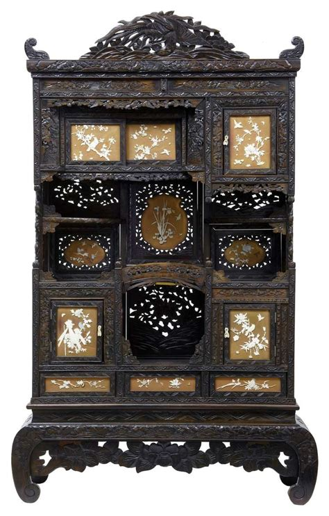 Decorative Display Cabinets by Early 20th Century Shibayama Japanese Carved Decorative