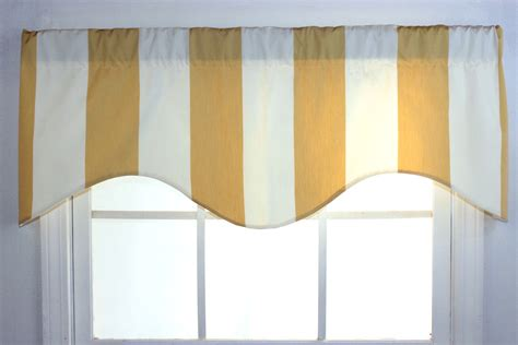 awning stripe shaped valance in yellow or tomato red by