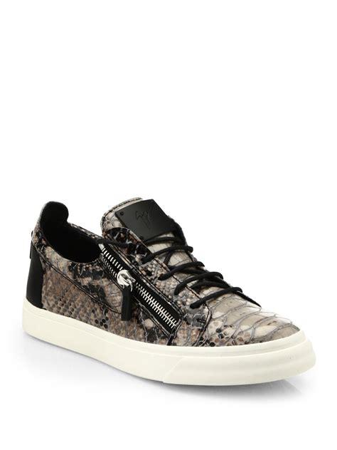 giuseppe zanotti devon snake effect leather sneakers