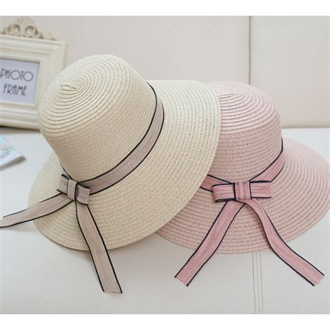 topi pantai wanita anti uv summer style beige