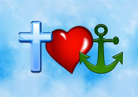 free illustration cross heart anchor love hope free
