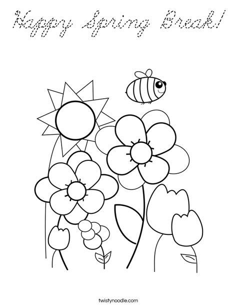 happy spring break coloring page cursive twisty noodle